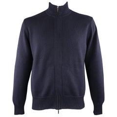 LORO PIANA 42 Navy Knitted Cashmere / Cotton Zip Up Sweater Cardigan Jacket