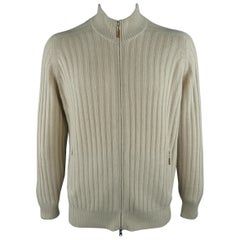 BRUNELLO CUCINELLI Size 44 Beige Knitted Cashmere Zip Up Cardigan Sweater