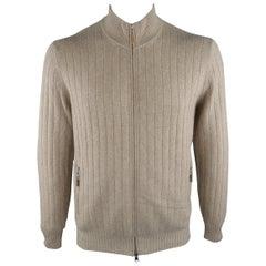 BRUNELLO CUCINELLI Size 42 Khaki Cashmere Zip Up Cardigan Sweater