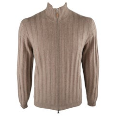 BRUNELLO CUCINELLI Size 42 Oatmeal Knitted Cashmere Zip Up Cardigan Sweater