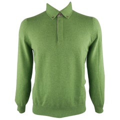 BRUNELLO CUCINELLI Size 42 Green Knitted Cashmere Button Down Pullover Sweater