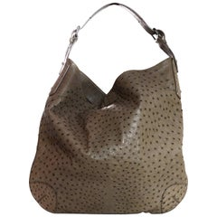 Belstaff Taupe Ostrich Large Calden Hobo Shoulder Bag rt. $5,900