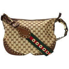 Gucci Beige Canvas Monogram Pelham Messenger Bag w/ Studded Web Strap