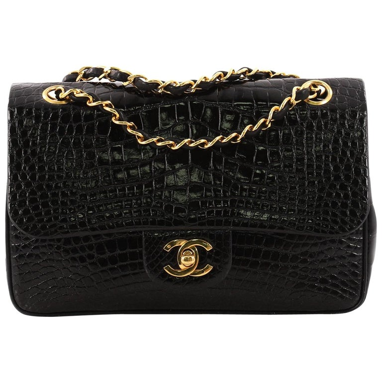 608f0558507df1 Chanel Vintage Classic Double Flap Bag Alligator Small at 1stdibs