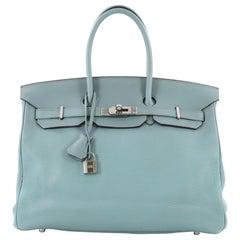 Hermes Birkin Handbag Ciel Clemence with Palladium Hardware 35