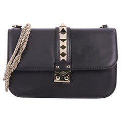 Valentino Glam Lock Shoulder Bag Leather Medium