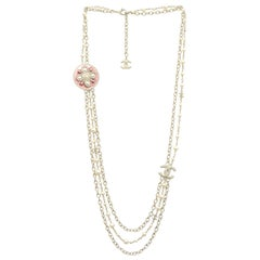 Chanel 2017 Light Goldtone Chain/Pearl Necklace W/ Pink CC Enamel Medallion