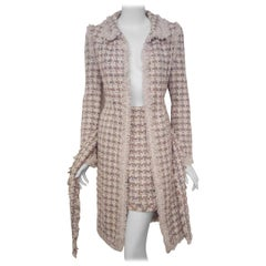 Chanel Multi Color Signature Fringed Fantasy Tweed Spring  2004  Belted Coat