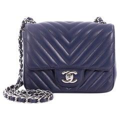 Chanel Square Classic Single Flap Bag Chevron Caviar Mini