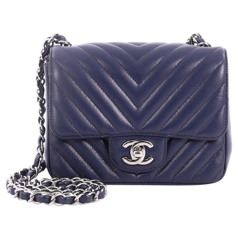 d51f7651128 Chanel Square Classic Single Flap Bag Chevron Caviar Mini at 1stdibs