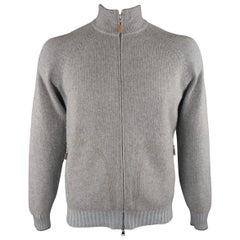 BRUNELLO CUCINELLI Size 42 Grey & Light Blue Cashmere Zip UP Cardigan Sweater
