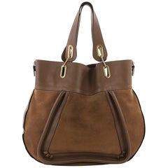 Chloe Paraty Side Zip Tote Suede with Leather Large