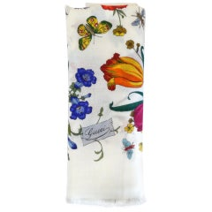 1980s Gucci Flora White Wool Fringe Shawl