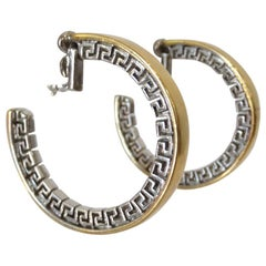 1980s Gianni Versace Rare Two-Tone Greek Key Hoop Earrings