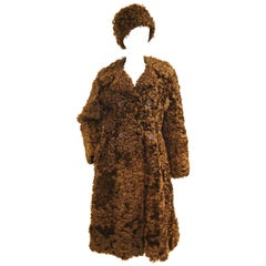 1970s Scottish Brown Curly Lamb Coat with Matching Hat
