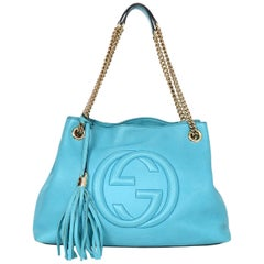 Gucci GG Logo Turquoise Pebbled Leather Soho Chain Tote Tassel Bag