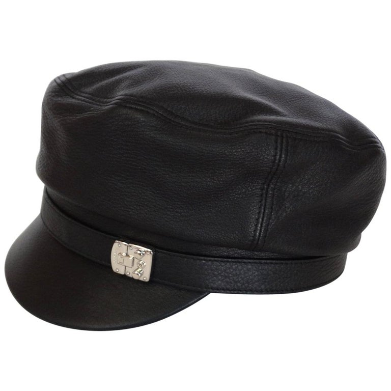 2000s Gucci Black Leather Train Conductor Hat at 1stdibs 82b76fb6c3b
