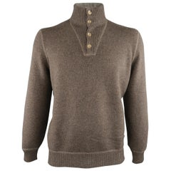 BRUNELLO CUCINELLI Size 44 Taupe Knitted Cashmere Buttoned High Collar Sweater