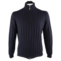BRUNELLO CUCINELLI Size 44 Navy Knitted Cashmere Zip Up Cardigan Sweater