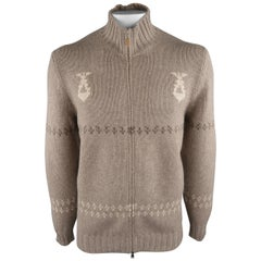 BRUNELLO CUCINELLI Size 44 Oatmeal Knitted Wool / Cashmere Cardigan Sweater