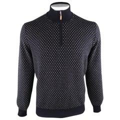 BRUNELLO CUCINELLI Size 46 Navy & Grey Knitted Cashmere Half Zip Sweater