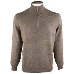 BRUNELLO CUCINELLI Size 46 Taupe & Grey Knitted Cashmere Half Zip Sweater