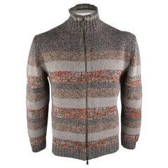 ETRO Size XL Grey Stripe Wool Zip Up Cardigan