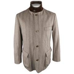 LORO PIANA L Brown Herringbone Wool Jacket