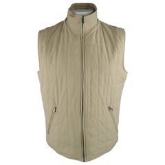 LORO PIANA XL Khaki Quilted Nylon Zip Up Vest