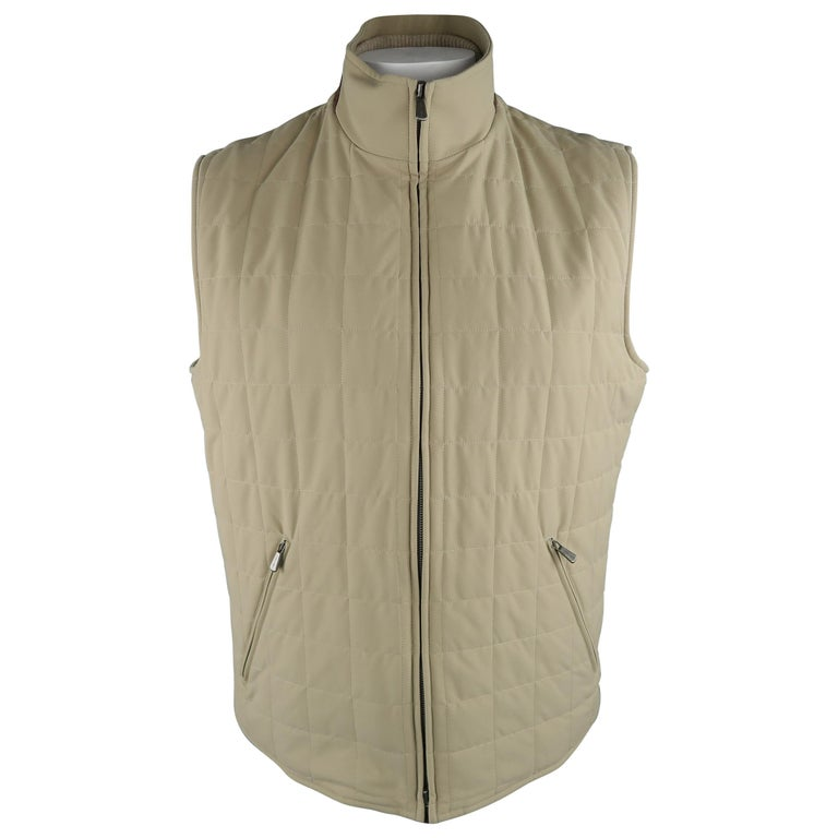 LORO PIANA XL Khaki Quilted Nylon Zip Up Vest For Sale
