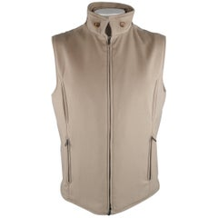 LORO PIANA XL Oatmeal Solid Cashmere Vest