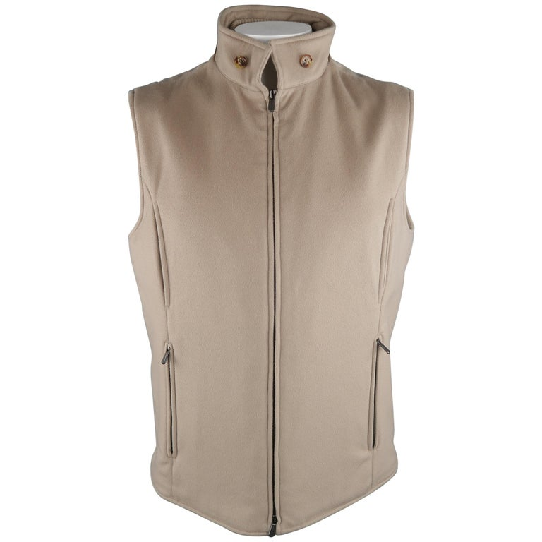 LORO PIANA XL Oatmeal Solid Cashmere Vest For Sale