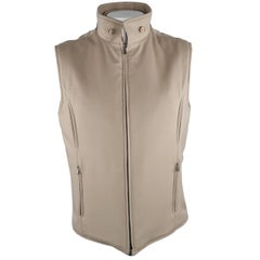 LORO PIANA XL Oatmeal Solid Cashmere Jacket Vest