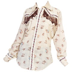 1970s Wrangler Floral Print Western Top With Lace and Ribbon