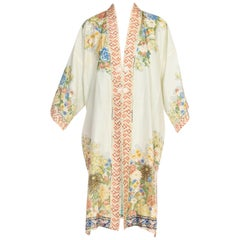 Hand Printed Silk Kimono with Floral Flower Frog Closure