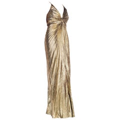 Iconic Travilla Gold Lamé Marilyn Monroe Disco Halter Gown