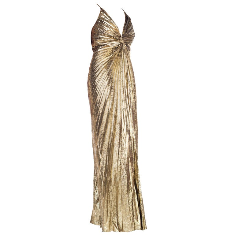 4ae42a48daac Iconic Travilla Gold Lamé Marilyn Monroe Disco Halter Gown at 1stdibs