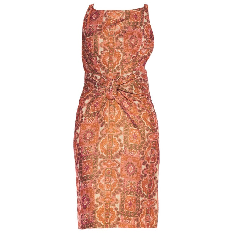 Late 1950s Fitted Metallic & Silk Low Back Dress For Sale