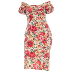 1950s Ceil Chapman Cotton Floral Dress