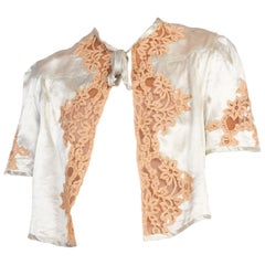 1930s Silk Satin & Lace Bed Jacket