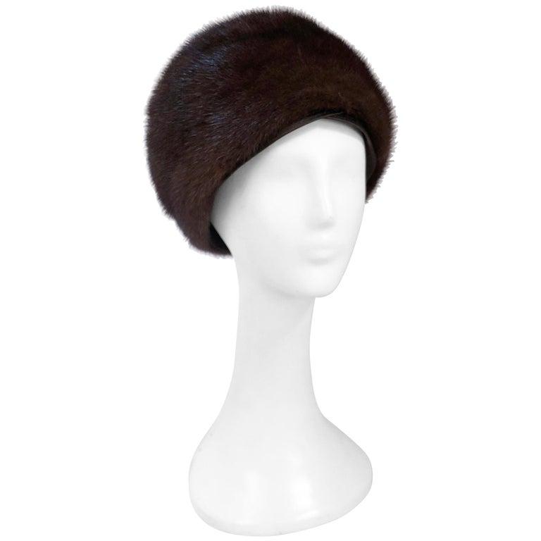 1960s I. Magnin Chocolate Brown Mink Hat