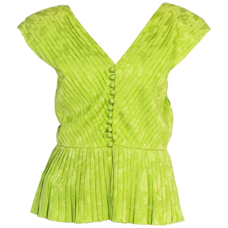 1970s Lanvin Couture Pleated Green Silk Blouse