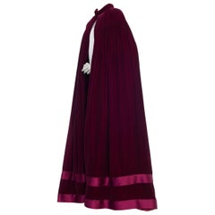 Dramatic Full Length Valentino Style 1930s Silk & Rayon Velvet Cape