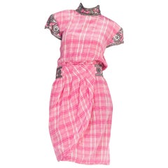 1980s Pink Plaid Silk Valentino Cocktail Dress With Crystals & Beading