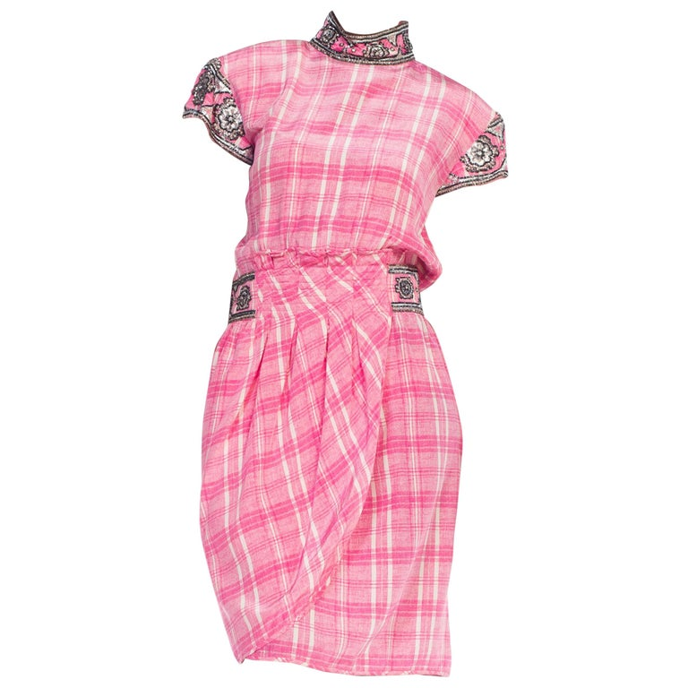 1980s Pink Plaid Silk Valentino Cocktail Dress With Crystals & Beading  For Sale