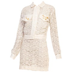 Sexy 1990s Gianni Versace Punk Safety Pin Collection Cream Lace Dress & Jacket