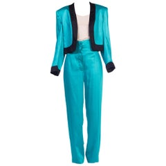 Stephen Sprouse High-Waisted 1980s Satin Suit