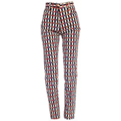 1990s Gianni Versace Floral Striped Jeans