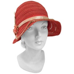 1920s Red Orange Straw Cloche