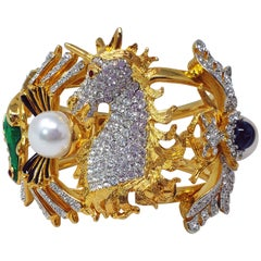 KJL Kenneth Jay Lane Crystal Faux Pearl & Cabochon Unicorn Animal Motif Bracelet